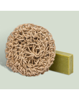 Набор натуральное мыло в сувенирной упаковке с джутовой мочалкой Крымский можжевельник