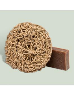 Набор натуральное мыло в сувенирной упаковке с джутовой мочалкой Ванильная