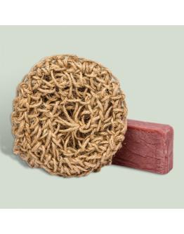 Набор натуральное мыло в сувенирной упаковке с джутовой мочалкой Винная